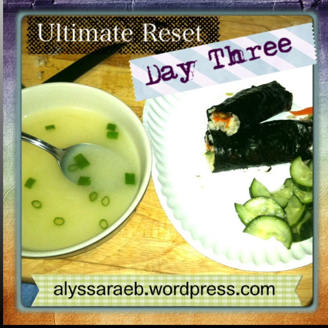 Day Tree Dinner: Sushi Roll, Cucumber Salad, Miso Soup