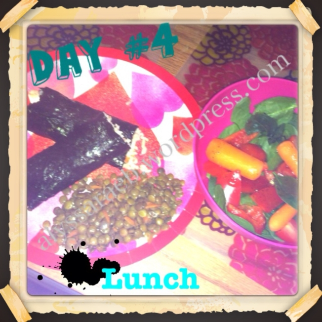 Day 4 Lunch: Sushi, Lentil Lime salad, and microsalad.