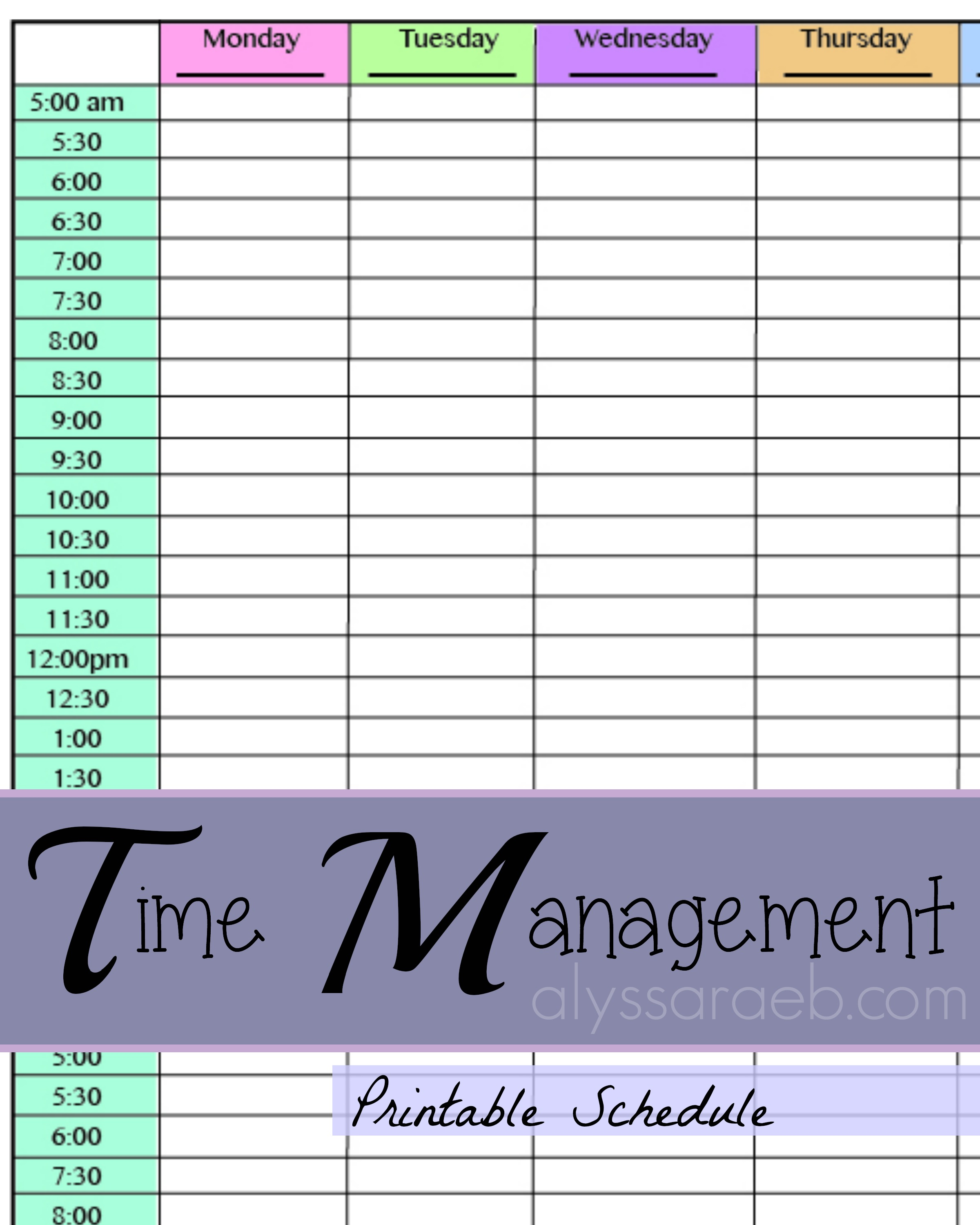 Time management alyssa rae for Time management to do list template